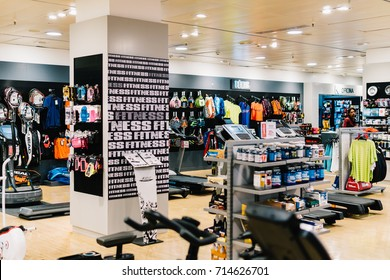 LISBON, PORTUGAL - AUGUST 08, 2017: Sport Apparel And Equipment For Sale In Shopping Mall.