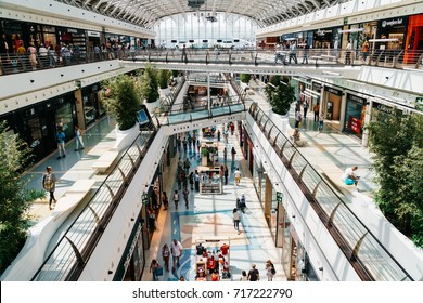 LISBON, PORTUGAL - AUGUST 10, 2017: People Crowd Looking For Summer Sales In Vasco da Gama Shopping Center Mall.