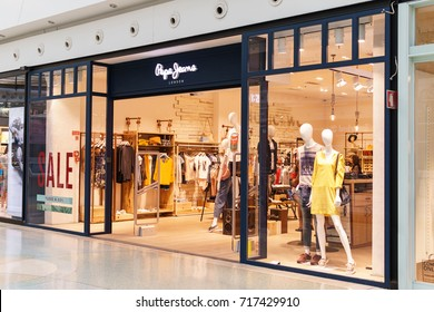 LISBON, PORTUGAL - AUGUST 10, 2017: Pepe Jeans London is a denim and casual wear jeans brand established in the Portobello Road area of London in 1973.
