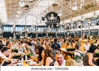 LISBON, PORTUGAL - AUGUST 12, 2017: Time Out Market is a food hall located in Mercado da Ribeira at Cais do Sodre in Lisbon and is a major touristic attraction for food lovers all over the world.
