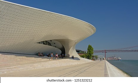 LISBON, PORTUGAL, AUGUST 12, 2018, Modern architecture of te MAAT - Museum of Art, Architecture and Technology, Lisbon, Portuga, desinged by architect Amanda Leete. Lisbon, 12 August 2018