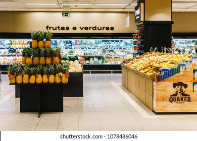LISBON, PORTUGAL - AUGUST 15, 2017: Healthy Fresh Fruits and Vegetables For Sale In Supermarket