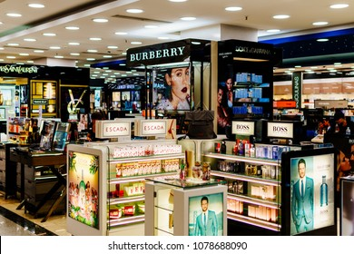 LISBON, PORTUGAL - AUGUST 15, 2017: Makeup, Skincare And Cosmetic Products For Sale In Fashion Beauty Department Store Display.