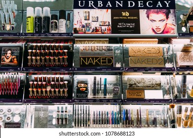 LISBON, PORTUGAL - AUGUST 15, 2017: Makeup, Skincare And Cosmetic Products For Sale In Fashion Beauty Department Store Display