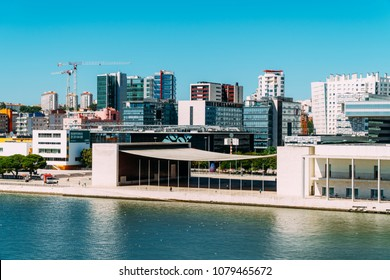 LISBON, PORTUGAL - AUGUST 15, 2017: Parque das Nacoes (Park of Nations) in Lisbon is a Modern Cultural Center And A Place For A Shopping Mall, The Pavillion Building, Oceanarium and Hotels