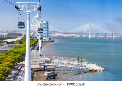 Lisbon, Portugal - August 15, 2017: The Nations Park Gondola Lift, aerial transportation by cable located in Lisbon. Ordinary people are in cabins