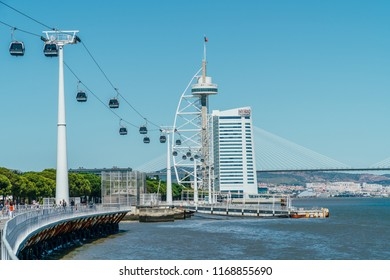 LISBON, PORTUGAL - AUGUST 18, 2017: Cable Car Ride Of Parque das Nacoes (Park of Nations) in Lisbon