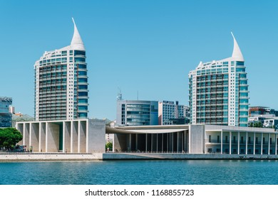 LISBON, PORTUGAL - AUGUST 18, 2017: Parque das Nacoes (Park of Nations) in Lisbon is a Modern Cultural Center And A Place For A Shopping Mall, The Pavillion Building, Aquarium and Hotels