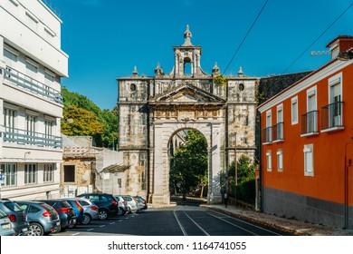 LISBON, PORTUGAL - AUGUST 20, 2017: Aqueduct Of The Free Waters (Aqueduto das Aguas Livres) And Commemorative Arch In Amoreiras Area Of Lisboa