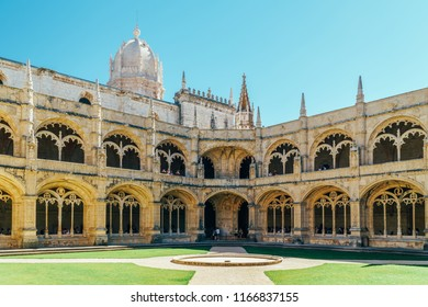 LISBON, PORTUGAL - AUGUST 20, 2017: Jeronimos Hieronymites Monastery Of The Order Of Saint Jerome Is Built In Portuguese Late Gothic Manueline Architecture Style