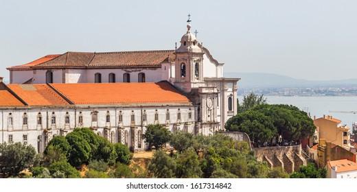 Lisbon, Portugal - August 2019 : Igreja da Graca Church, Miradouro da Graca Lookout, Lisbon, Portugal