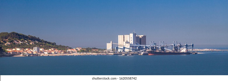 Lisbon, Portugal - August 2019 : Panoramic view of the Silos da Trafaria, grain silos used as a mid point for cereal transit in Lisbon Portugal