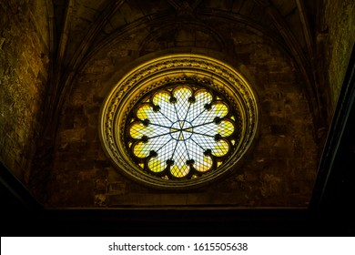 Lisbon, Portugal - August 2019 : Rose window of the Jeronimos Monastery or Hieronymites Monastery of Belem, in Lisbon, Portugal