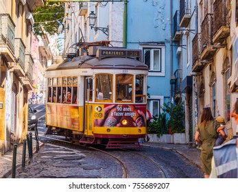 Lisbon, Portugal - August 22, 2017: Street car running in the streets of Lisbon