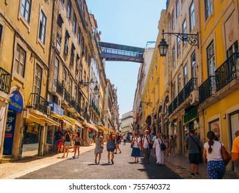 Lisbon, Portugal - August 22, 2017: People walking in Rua do Carmo