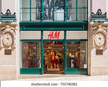 Lisbon, Portugal - August 22, 2017:  H&M store in Rua do Carmo