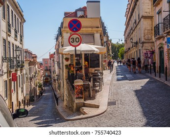 Lisbon, Portugal - August 22, 2017: Tiny corner with bar terrace in Lisbon streets