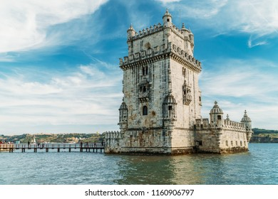 LISBON, PORTUGAL - AUGUST 23, 2017: Belem Tower of Saint Vincent (Torre de Belem) Is A Fortified Tower And UNESCO World Heritage Site Built in 1519