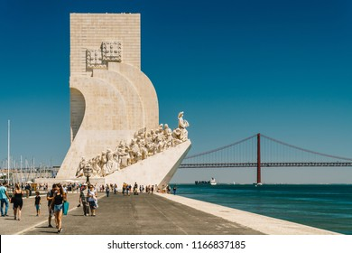 LISBON, PORTUGAL - AUGUST 23, 2017: Monument To The Discoveries (Padrao dos Descobrimentos) Celebrates The Portuguese Age Of Discovery And Is Located On Tagus River Estuary In Lisboa City