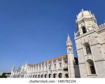 LISBON, PORTUGAL - AUGUST 23, 2019: view on the Jeronimos temple at sunny weather
