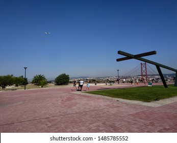 LISBON, PORTUGAL - AUGUST 23, 2019: view on the attraction at the seaside park at summer