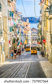 Lisbon, Portugal - August 26, 2017: Bica funicolar intersection point.The Ascensor da Bica is considered Lisbon's most picturesque funicular, leading up to Bairro Alto with scenic views of Tagus River