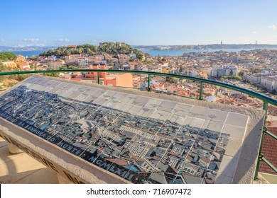 Lisbon, Portugal - August 27, 2017: viewpoint Our Lady of Mt. or Nossa Senhora do Monte, Alfama, the highest point in Lisbon.Sao Jorge Castle, 25 April Bridge, Cristo Rei and Tagus River on background