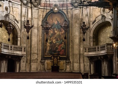 Lisbon, Portugal - August 28 2019: Lisbon Cathedral, better known as Sé de Lisboa, is the one of the oldest cathedrals in the city that  showcases Lisbon's rich architectural heritage.