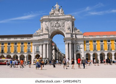 Lisbon, Portugal. August 29 2019. The 'Rua Augusta Arch'  taken from Commercial Square, known locally as 'Praça do Comércio' or 'Terreiro do Paço', on a sunny August day.