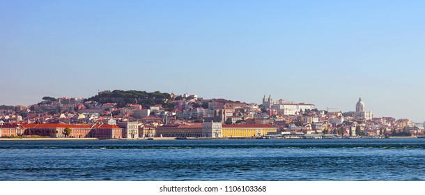 Lisbon, Portugal. August 31, 2014: Panoramic view of Lisbon from Cacilhas with a view of Praca do Comercio, Pantheon and Sao Jorge Castle, Lisbon, Portugal