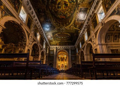 Lisbon, Portugal, August 6, 2017: Interior of the 16th century Church of Saint Roch. It was the earliest Jesuit church in the Portuguese world, and one of the first Jesuit churches anywhere.