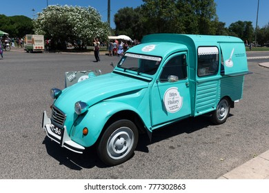 Lisbon, Portugal, August 6, 2017: Citroen 2CV van converted to a food vendor's cart.