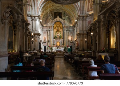 Lisbon, Portugal, August 6, 2017:  Interior of the Santo Antonio Church, originated in the 12th century, rebuilt and redecorated in the 18th century.