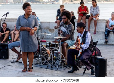 Lisbon, Portugal, August 6, 2017:  Jazz band performing on a street in Lisbon, Portugal