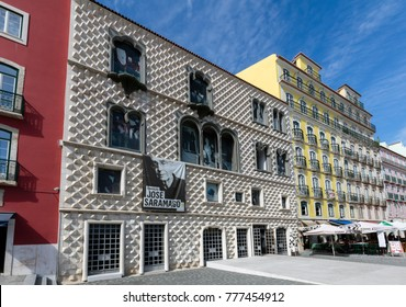 Lisbon, Portugal, August 7, 2017: Casa dos Bicos, a historical house, built in the early 16th century with a spiked facade of spikes, influenced by Italian Renaissance and Portuguese Manueline style.