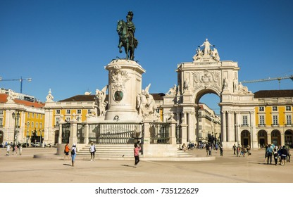Lisbon, Portugal - Circa September 2017: Tourists sightseeing at the Commerce Square in Lisbon