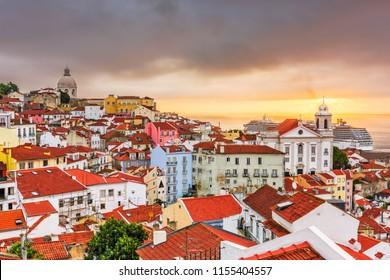 Lisbon, Portugal city skyline over the Alfama district.