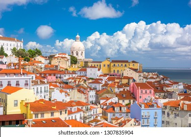 Lisbon, Portugal city skyline over the Alfama district.