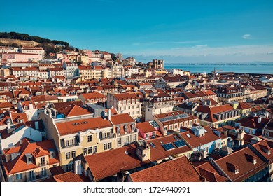 Lisbon, Portugal. Cityscape. Top view on the city center in January.