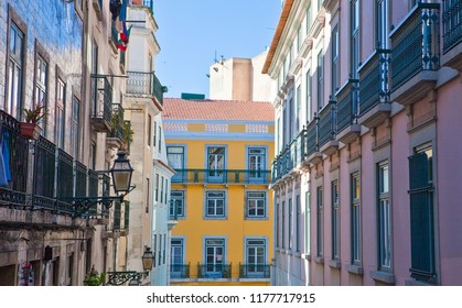 Lisbon, Portugal, the  colorful houses  of Barrio Alto district