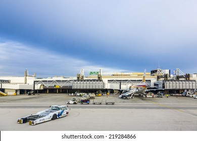 LISBON, PORTUGAL - DEC 30, 2008: view to terminal of the airport in Lisbon, Portugal. Lisbon Portela Airport, is the main international gateway to Portugal and opened first in 1942.