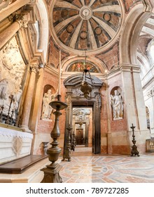 LISBON, PORTUGAL - DECEMBER 10, 2017:  Panoramic view of Corridor in Basilica of the Mafra Palace and Convent. Franciscan religious order. Baroque architecture.