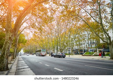 LISBON, PORTUGAL - December of 12, 2018: View on the Avenue Da Liberdade Lisbon in winter time