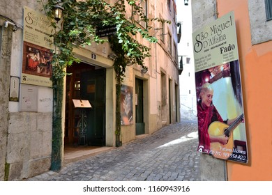 LISBON, PORTUGAL - DECEMBER 16, 2014: A Fado restaurant in the district of Alfama in Lisbon. Fado is the national music genre of Portugal.