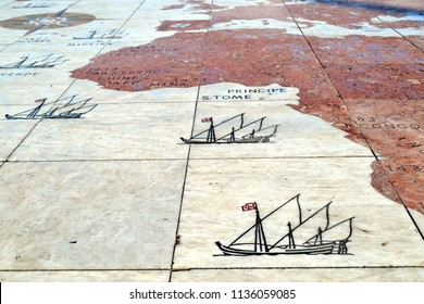 "LISBON, PORTUGAL - DECEMBER 18, 2014: Map about the Portuguese discoveries on the floor, near Padrão dos Descobrimentos (Eng. ""Monument of the Discoveries"")"