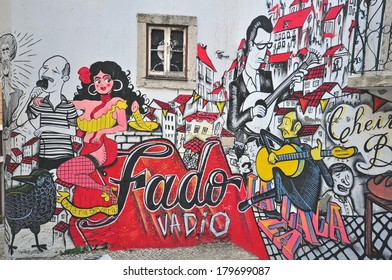 LISBON, PORTUGAL - DECEMBER 21: Graffiti of traditional portuguese fado on the street of Lisbon on December 21, 2013. Lisbon is a capital and the largest city of Portugal.