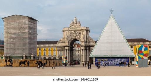 "Lisbon, Portugal - December 23 2012: Praca do Comercio (Commerce Square),  ""Arco da Rua Augusta"" (Rua Augusta Arch) and the Christmas Pyramid"