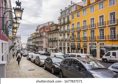 LISBON, PORTUGAL - DECEMBER 26, 2015: Beautiful view of the streets and architecture in old Lisbon. Lisbon is capital city of Portugal and is one of the most vibrant cities of Europe.
