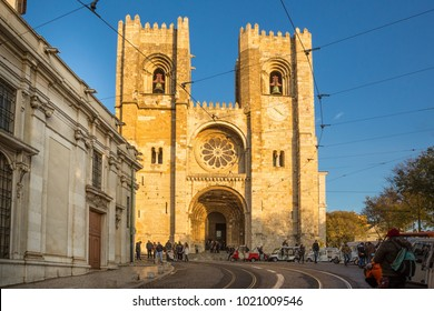 LISBON, PORTUGAL - DECEMBER 7, 2017: Street view and Se cathedral in Lisbon city, Portugal