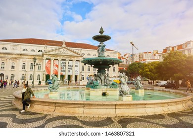 LISBON, PORTUGAL – December12, 2018: Spectacular baroque fountain and statue of Dom Pedro IV in Praca Dom Pedro IV or Rossio Square